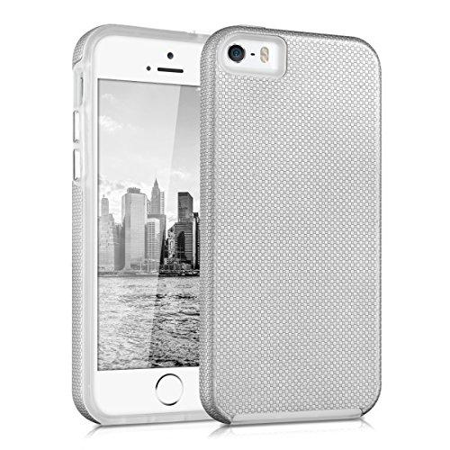 kalibri-Armor-Hlle-fr-Apple-iPhone-SE-5-5S-TPU-Silikon-und-Kunststoff-Case-in-Silber