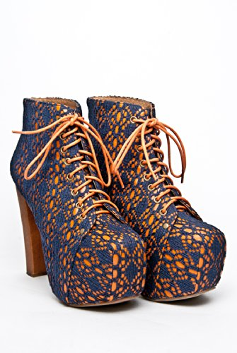 Jeffrey Campbell Jeffrey Campbell Lita Mac High Heel Bootie - Navy Orange
