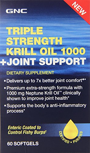 GNC Triple Strength Krill Oil 1000 Plus Joint Support Supplement, 60 Count (Gnc Fish Body Oils 1000 compare prices)