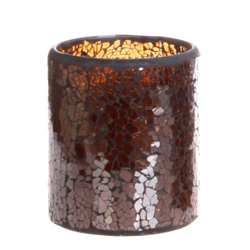 Dfl 3*4 Inch Brown Cracks Pattern Mosaic Glass With Flameless Led Candle With Timer,Work With 2 Aa Battery