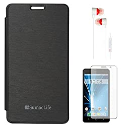 SumacLife Premium Flip Cover Case for Intex Aqua Star 5.0 (Black) + White Earphones + Matte Screen