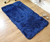 Royal blue navy faux fur oblong rectangle sheepskin rug 70 x 140 cm washable