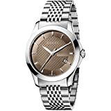 Gucci G-Timeless Collection Men's Quartz Watch with Brown Dial Analogue Display and Stainless Steel Bracelet YA126406