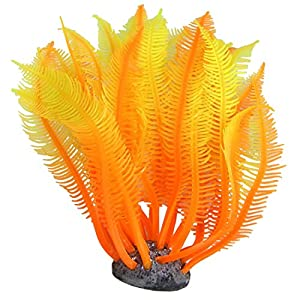 Umiwe(TM) Silicone Artificial Manmade Coral Shape Underwater Fish Tank Aquarium Plants,Orange Yellow With Umiwe Accessory