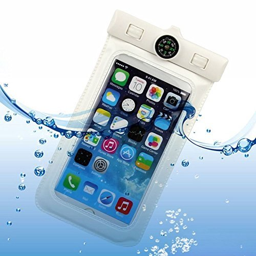 ULIKE (TM) Universal Waterproof Pouch Case Armband for Apple iPhone 6 Plus 6 5S,LG G3 LG L90,Samsung Galaxy A7 S5 S4 S3 Note 4 Note 3,Ipod Touch,Windows Phones,GPS,Passport,Money etc. – Certified Waterproof Up to 20 feet (IPX6) – Great To Use While You Snorkel,Swim, Snowboard, Boat, Kayak – Works like a Dry Bag,Black Adjustable Strap and with Compass (A-White)