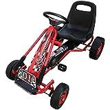 Kart à pédales rouge pour enfant fonction roue libre siège ajustable