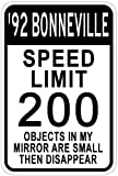1992 92 PONTIAC BONNEVILLE Speed Limit Sign - 10 X 14 Inches
