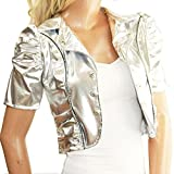 ボレロ ジャケット カーディガン トップス メタリック 衣装 半袖 ゴールド シルバー レッド ブラック (シルバー)