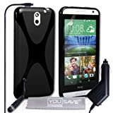 Yousave Accessories HTC Desire 610 Case Black Silicone X-Line Cover With Mini Stylus Pen And Car Charger