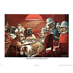 C.M. Coolidge Pinched with Four Aces Dogs Playing Poker CM Art Print Poster - 16x20 custom fit with RichAndFramous Black 20 inch Poster Hangers