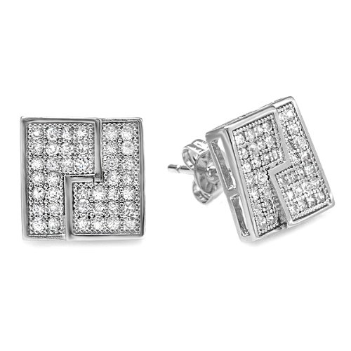 Platinum Plated Clear CZ Cubic Zirconia Cube Shaped Hip Hop Iced Cube Stud Earrings (11.5 mm x 11.5 mm )