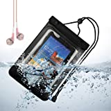 SumacLife Waterproof Case Dry Bag Pouch for ipad mini / Samsung Galaxt Tab 3 7 / 8 inch / Samsung Note 8.0 (Black) + Pink VanGoddy Headset With MIC