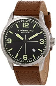 Stuhrling Original Tuskegee Classic Men's Quartz Watch with Black Dial Analogue Display and Beige Leather Strap 449.331E1