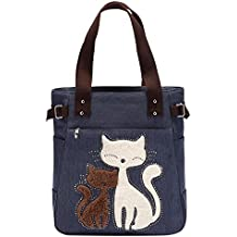 Rrimin Women Handbag Canvas Bag With Cute Cat Fashion Ladies Small Bags (Dark Blue)