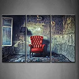 Modern Home Decoration painting 3 Panel Wall Art Armchair In Grunge Room Interior Window Shabby In Abandon House Pictures Print On Canvas Architecture The Picture piece