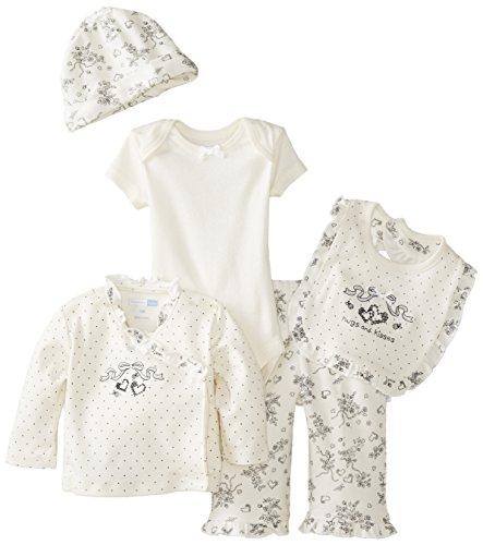 Vitamins Baby Baby-Girls Newborn Dot And Toile 7 Piece Gift Set, Ivory, New Born