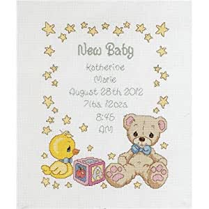 "Precious Moments Birth Record Counted Cross Stitch Kit-11""X14"" 14 Count"