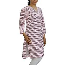 White Pink Handwoven Khadi Kurti