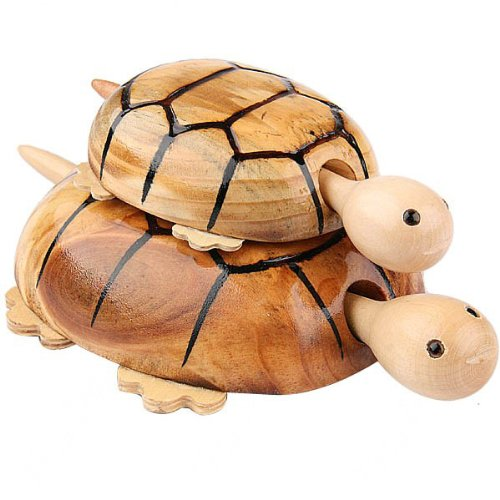 2Pcs Hand Carved Wooden Turtle Toy With 4 Wheels - Mother & Son front-532100