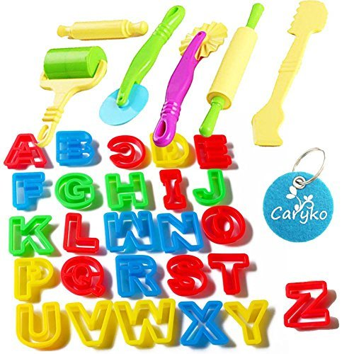 Caryko Set of 32 PCS Smart Dough Tools Kit with Models and Molds , Alphabet