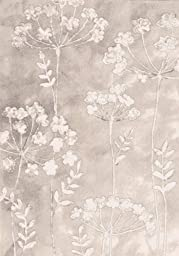 Area Rug, Ivory Floral Stain Resistant Carpet, 7\' 10\