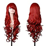 Emax Design Wigs 32 Inch Cosplay Wig For Women With Wig Cap And Comb(Dark Red)