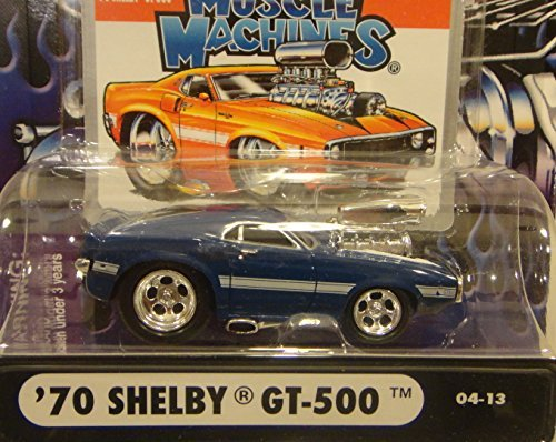 MUSCLE MACHINES 1:64 SCALE 04-13 BLUE 1970 SHELBY GT-500 WITH BLOWN ENGINE DIE-CAST