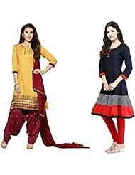 Sky Global Women's Regular Wear Dress Material And Kurti (Combo Pack Of 2)(SKY_DK_9005)(SKY_557_Yellow)(SKY_7026...