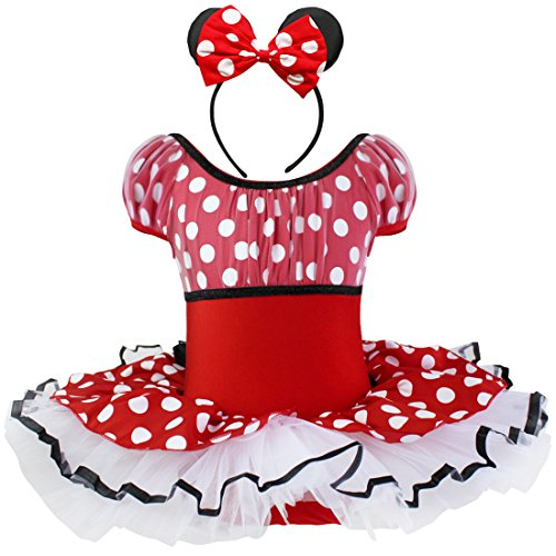 iEFiEL Toddler Girls Kids Halloween Puff Miss Mouse Dress Up Costume Ear Headband