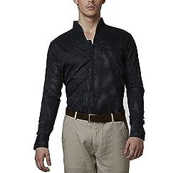 Lisova Men's Formal Shirt (LI/SHRT/095_Black_X-Large)
