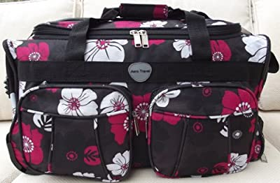 Travel Holdall CABIN APPROVED Carry On Wheels Black Hot Pink flowers trolley hand Luggage Small bag
