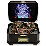 Nativity Christmas Holiday Music Box Lighted with Holy Family Plays Tune Silent Night - 8 by 5 Inch