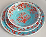 12-Piece Cynthia Rowley Costal Life Turquoise and Red Painted Coral Dinner Plates, Accent Plates, All Purpose Bowls (Service for Four)