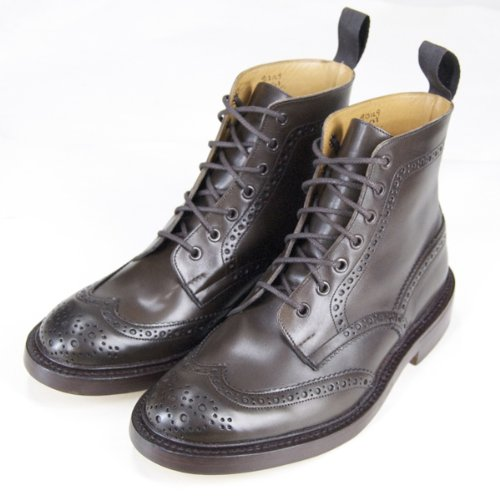 [トリッカーズ]Tricker's カントリーブーツ エスプレッソ・バーニッシュ レザーソール TRICKER'S COUNTRY BOOTS  ESPRESSOウィングチップ (UK9(27.5cm))