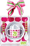 Mud Pie Initial Baby Personalized Melamine Feeding Set with Pink Polka Dots, Letter A