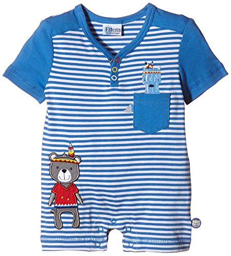 Eltern by Salt & Pepper Baby - Jungen Strampler E NB Playsuit Indian kurz, Gestreift, Gr. 62, Blau (palace blue...