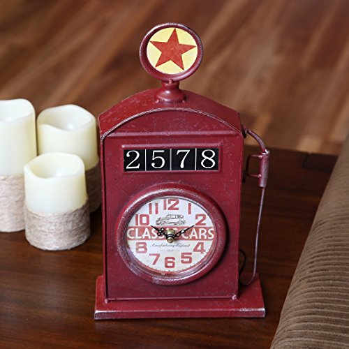 Lily's Home Antique Inspired English Red Gas Pump Mantle Clock 13 Inch 1