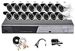 iPower Security SCCMBO0013-2T 16-Channel 2TB Hard Disk Full D1 DVR Security Surveillance System with 16 850TVL Cameras - Bullet (Grey/Black)