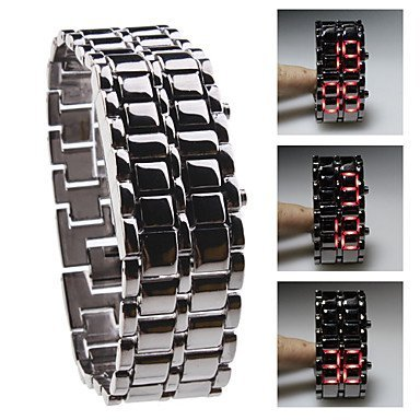 Liroyal Red Led Digital Lava Iron Style Metal Sports Watch For Girls