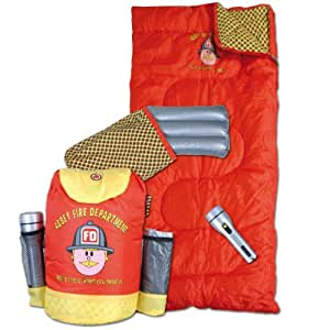 Kinderschlafsack Hüttenschlafsack Feuerwehrmann Abbey Fire Department Rucksack Taschenlampe Kissen Kinder