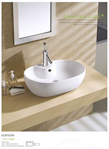 Plano Designer White Tabletop Washbasin Leafless