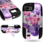 CoverON® Kickstand Hard + Soft Dual Layer Hybrid Case for ZTE Fury / Director / Valet - Pink Purple Hibiscus Flower Design Black Soft Silicone