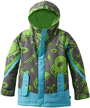 CROCS Boys 2-7 Ski Jacket, Charcoal/Electric Blue, 5