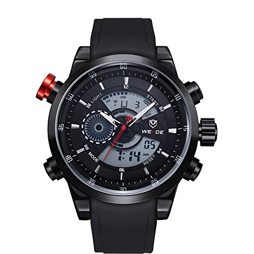 Men'S Sport Silicone Strap Watch Weide Military Watch Army Diver Calendar Luxury Brand Lcd Back Light Wristwatch(Black Black)