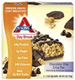 Atkins Day Break Bars, Chocolate Chip Crisp, 5 Count, 1.2-Ounce Bars (Pack of 3)