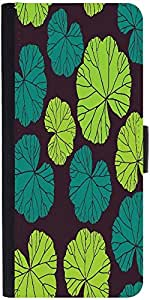 Snoogg Seamless Pattern On Leaves Theme Graphic Snap On Hard Back Leather + P...