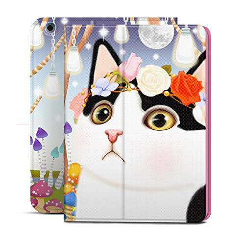 iPad air2 ケース 手帳型 横開き ポップエネルギー(Pop Energy)アイパッド ミニ1/2/3スマートカバー ネコ かわいい 猫デザイン 二つ折ケース PUレザー スタンドタイプ オートスリープ機能付き (ipad air2)
