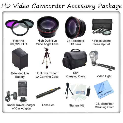 Ultimate Hd Video Accessory Package For The Canon Xh-A1, Xh-A1S, Xh-G1, Xl-1S, Xl1, Xl2, Xl-H1 Mini Dv Camcorders. Includes 3 Piece Filter Kit, Wide Angle Lens, Telephoto Lens, 4 Piece Macro Close Up Set, Soft Carrying Case, Full Size Tripod, Canon Bp970