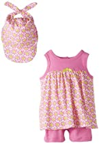 Offspring - Baby Apparel Baby-Girls Newborn Daisy Popover And Hat, Pink, 9 Months