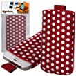 Tigerbox� Retro Polka Dot Fashion Pouch Cover Case with Pull Tab For Motorola Moto G Mobile Phone - Red / White